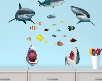 Shark Decal, Underwater Murals, Ocean Wall Decals (5_Shark_OTHER MINI Size)