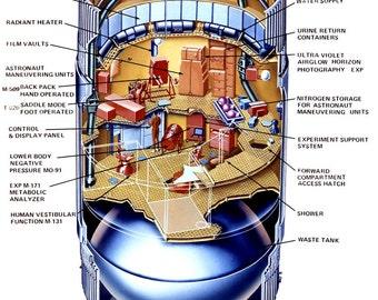 Cutaway Drawing of the Skylab Orbital Workshop - 8X10 NASA Photo (AZ067)