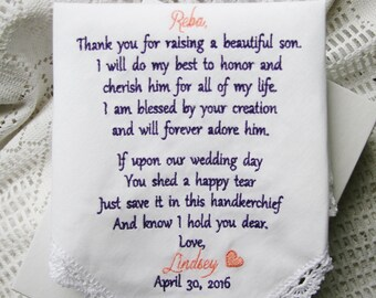 Embroidered Wedding Handkerchief -Gift to Mother of the Groom From Bride