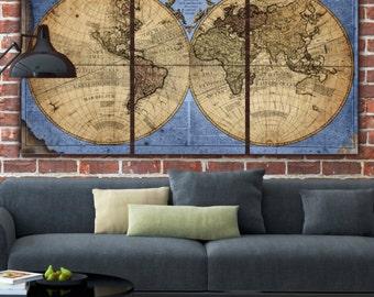 Globe World Map Canvas - Blue/Tan. Large wall art, canvas wall art, vintage art, Map of World, Holy Cow Canvas