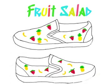 Fruit Salad Themed Custom Hand Painted Shoes