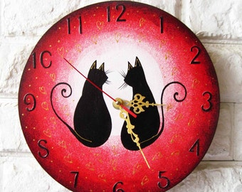 Love Black Cats Wall Clock (Pink)