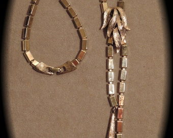 1950-1960s Faux Slide Necklace of Rectangular Silver Beads