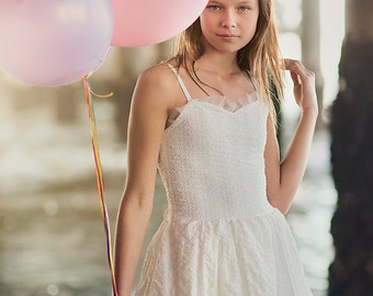 Ivory Lace Junior Bridesmaid Dress With A Bow On Back, Ivory Flower Girl Dress, lace flower girl dress, boho flower girl dress