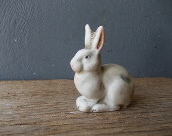 Vintage Porcenain HARE / Small Porcelain Bunny / Miniature RABBIT / Collectible from Ussr 60's