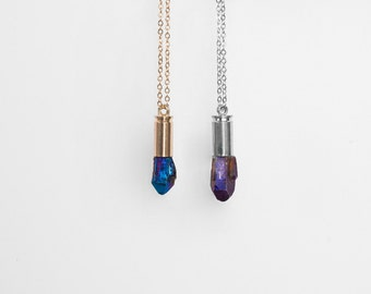 Titanium Blue or Purple Bullet Necklace / quartz bullet necklace