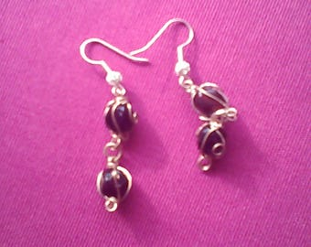 Earring beads caged Silver series Elia N 10