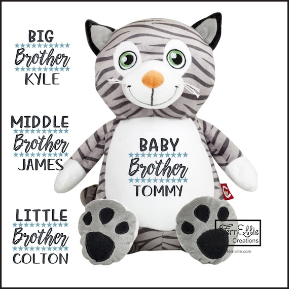 Mr Miowgi the CAT Personalized Cubbies, Stuffed Animal Gift, Birth Stats, Monogrammed Gift, Personalized Teddybear* Plush Toys*