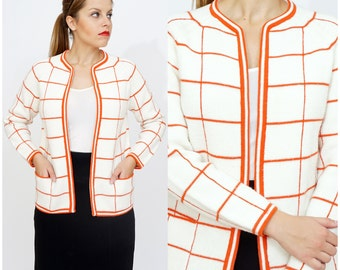 Vintage 60s/70s White and Orange Windowpane Plaid Square Patterned Cardigan Sweater by Zado | Medium