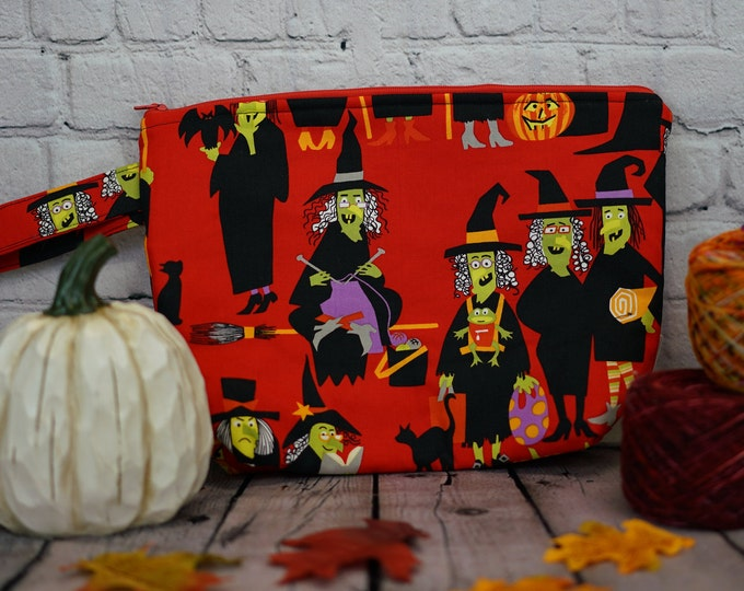Knitting Witch -Red Small Project bag, Knitting project bag, Crochet project bag,  Zipper Project Bag, Yarn bowl, Yarn tote