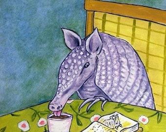 25% off ARMADILLO ART - Armadillo at the Coffee Shop Animal Art Tile - armadillo gifts