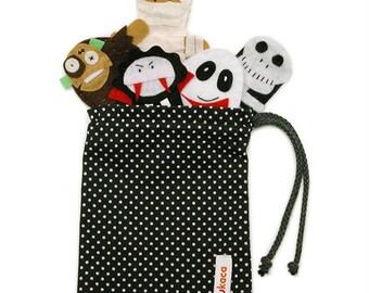 Halloween Monsters Finger Puppets Bag - 5 Felt Finger Puppets and Bag - Halloween Bag - Trick or Treat Bag - Kids Felt Toy