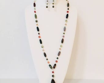Indian agate tubes and rondelles, faceted prehnite nuggets labradorite faceted tear drop necklace.