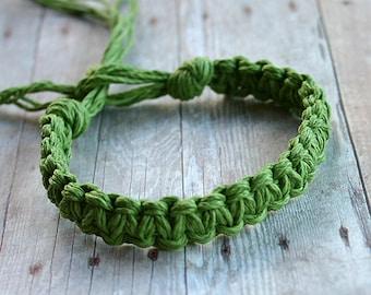 Surfer Macrame Hemp Bracelet Lime Green Woven Knot Friendship Bracelets