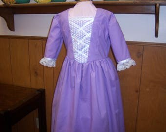 Girls 7/8 Colonial Dress + Mob Cap--American Girl, Williamsburg, Birthday Gift, School Event, Field Trips, Wax Museum, Plays and Programs