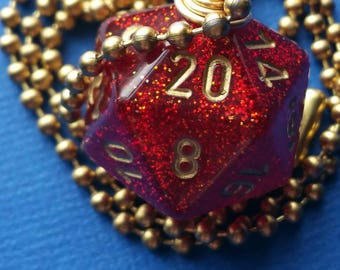 NEW STYLE - Dungeons & Dragons - D20 Die Necklace - Glitter Red/Gold