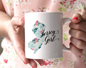 Coffee Mug, 11 oz, Jersey Girl, Gift for Her, New Jersey, Floral Mug, Floral State