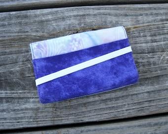 Business Card Holder Mini Wallet- Bifold Inside Outside Wallet in Purple and Batik Pastel