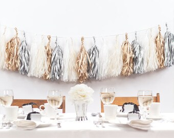 Gold, Silver, White Tassel Garland Decoration/ Gold Tassel Decor/ Silver Tassel Decoration/ Wedding Tassel Garland/ Elegant Tassel Decor
