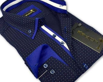 Two Buttons Collar Slim Fit White & Blue Dots Shirt
