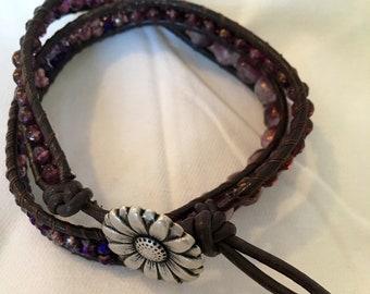 Leather beaded wrap bracelet purple flower button