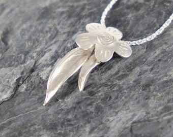 Silver Flower and Leaves Necklace, Gift For Women, Sterling Silver Necklace, Gift For Girlfriend, Nature Jewelry, Floral Pendant
