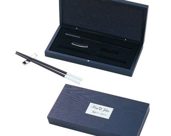 Engraved Lovely Chopstick Set In Wodden Box For Two