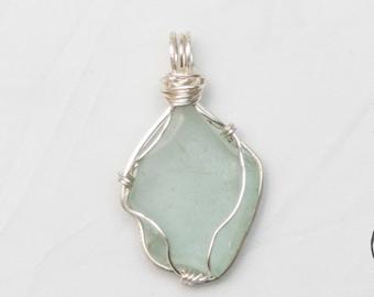 Seafoam Beach Glass Pendant #31 Aqua Sea Glass Pendant Artisan Sea Beach Glass Jewelry - Gift Idea - Shipping is on Us at Everything Vintage