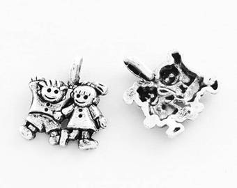 20 School Children Boy Girl Small Antique Silver Charms 12mm x 13mm (241)