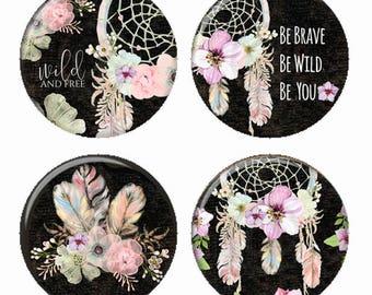 Capteurs de rêves floral plumes aimants ou des macarons ou des médaillons Flatback