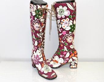 size 7 vintage 60s mod FLOWER POWER GoGo boots