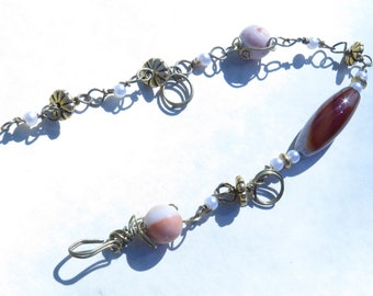 Wire wrapped beaded bracelet