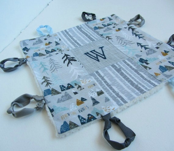 Baby Boy Lovey Personalized with Hand Embroidery ~ Choice of Backing Fabric ~ Adventure Awaits ~ Nature Boy ~ Gray Teal White ~ Birch Trees