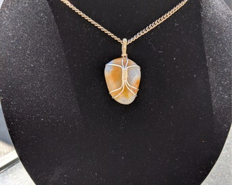 Oregon Coast Amber Agate Wire Wrapped Necklace