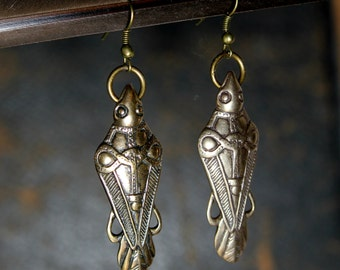 Odins Raven Earrings Ancient Bronze Odin's Ravens Viking Earrings 124
