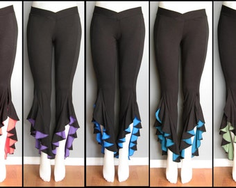 Black Bamboo Tribal Belly Dance Pants with colour detail