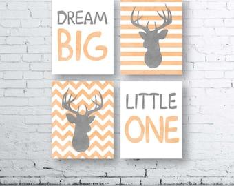 Dream Big Little One Deer Prints-Set of Four (4)-Instant Download-Baby.Decor.Nursery.Dream Big Little One Nursery.Girl Deer Nursery. Sets