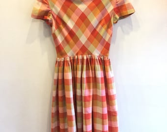 1950s Plaid Dress with Bow in back