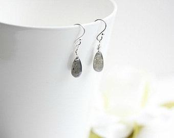 Labradorite jewelry  -  Silver Labradorite earrings - Gray Labradorite gemstone briolette earrings in Sterling Silver or Gold filled