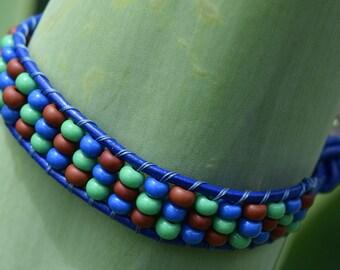 Single strand, Seed Bead Leather Bracelet, Seed Beads, Leather Bracelet, Leather Wrap Bracelet, Leather Jewelry, Seed Bead Bracelet