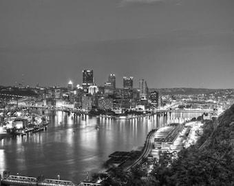 Pittsburgh Skyline, Pittsburgh Art, Fine Art Black and White Photography, Pitts burgh decor