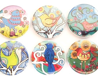 Birdie Magnets Whimsical Fun Colorful Birds Refrigerator Magnets Birds Fridge Magnets Kitchen Magnets Home Office Decor, 6/Set