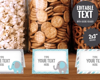 Elephant Place Cards - Editable Buffet Cards - Food Tent Cards - Printable Blue and Gray Baby Shower Table Signs - Baby Boy Decorations