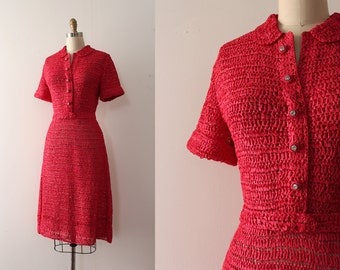 vintage 1940s dress // 40s ribbon crochet knit dress