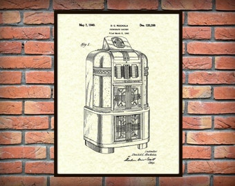 Patent 1940 Jukebox Phonograph Cabinet Designed by Rockola - Art Print - Poster Print - Wall Art - Record Player - Victrola - Music Player