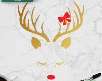 Reindeer face svg, Reindeer svg, Christmas svg, svg christmas files, Christmas cut file, cricut, Christmas clipart, Svg, Dxf, Png, Jpeg