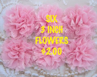 HUGE SALE  - SIX 3 inch Shabby edge petals and lace flowers - perfect for clips or headbands, pretty pink flowers - Hair Craft Supply