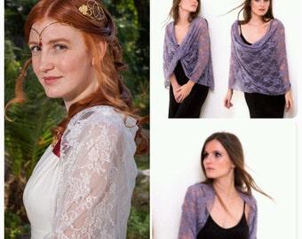 Set Of 4 Wedding Shrugs- Bridal Ivory Lace Shrug And 3 Dusty Purple Lace Shrugs. Versatile Shawls- Shawl, Crisscross, Loop scarf Or Shrug.