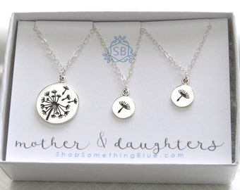Mutter und Töchter Löwenzahn Halsketten • Silber Löwenzahn Charme • Muttertagsgeschenk • wünschen Halsketten • Löwenzahnsamen • Löwenzahn Anhänger