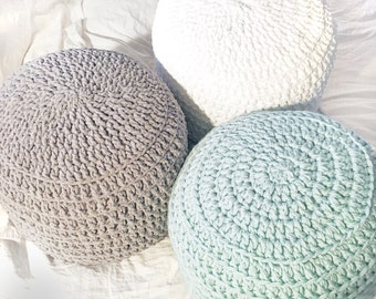 Mint Green White Grey Hand Crochet Pillow Ottoman Pouf, Footstool, Cushion! STUFFED! Perfect gift for baby showers!